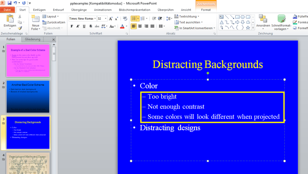Nicht unterstrichener Text in Powerpoint