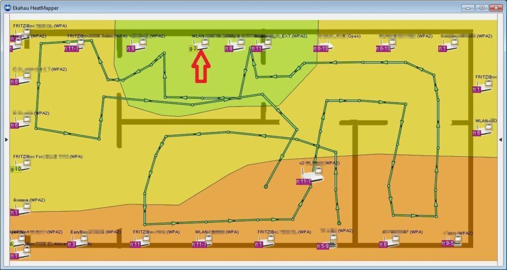 Heatmap des WLAN-Empfangs aus der