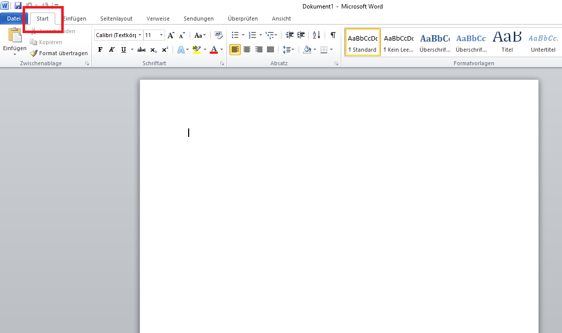 word standardschriftart ändern