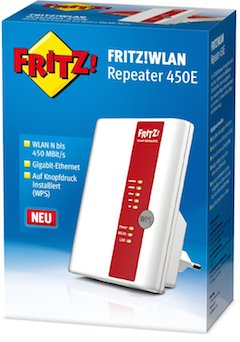 AVM Fritz 450E Test: WLAN Repeater in Original-Verpackung