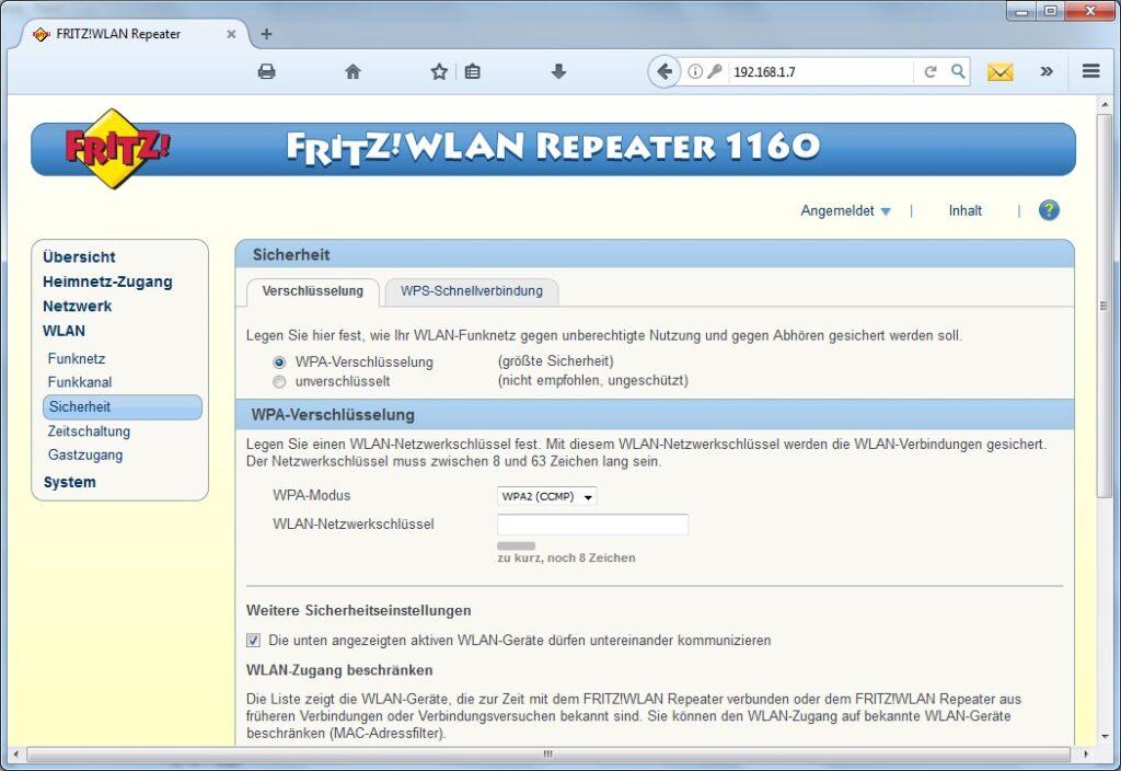 Fritzz1160 Sicherheitseinstellungen