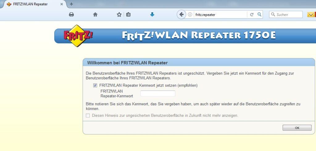 FRITZ!WLAN Repeater 1750E: Passwortvergabe