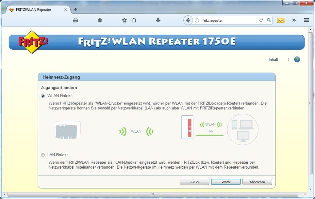 FRITZ!WLAN Repeater 1750E: WLAN-Auswahl