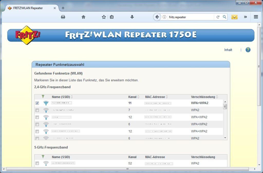 FRITZ!WLAN Repeater 1750E: Betriebsartwahl