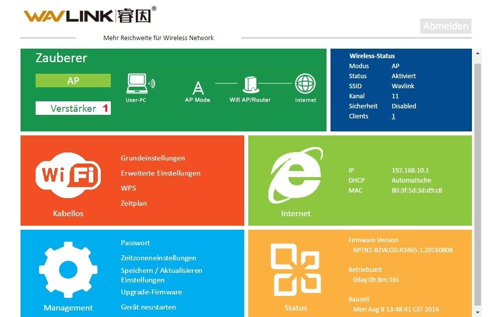 Wavlink-N300-Test: Konfigurationsmenü