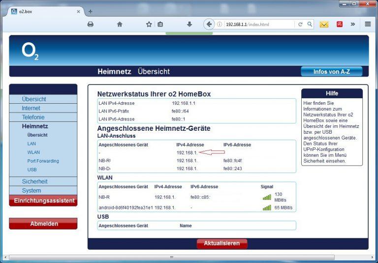 Router: Anzeigen der IP-Adressen im Heimnetzwerk