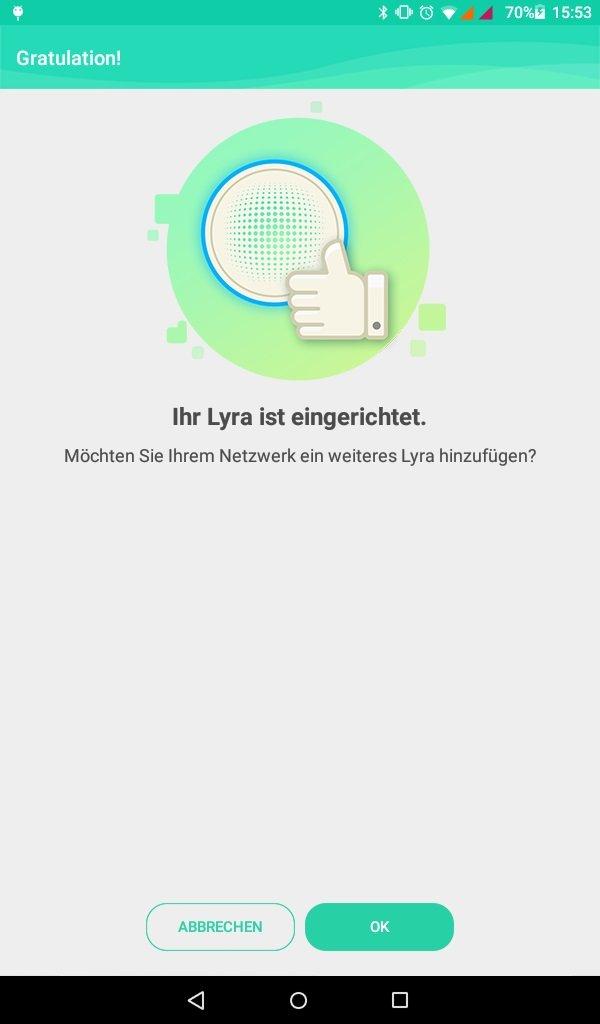 Asus Lyra MAP-AC2200: App hat Lyra eingerichtet