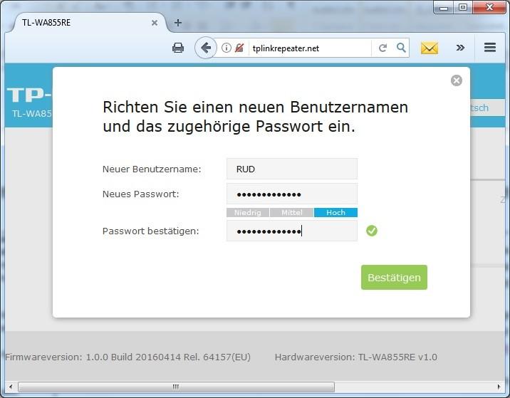 TP-LINK WA855RE Passwortvergabe