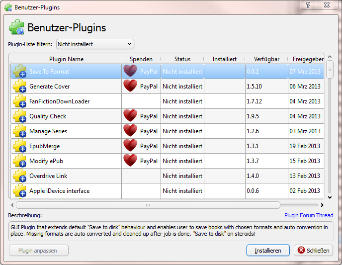 Calibre — Plugins installieren