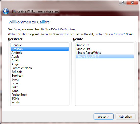 Calibre Willkommens-Assistent