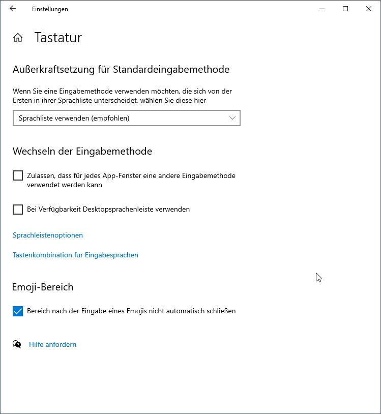 Tastaturoptionen Windows 10
